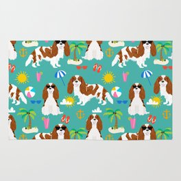 Cavalier King Charles Spaniel beach day tropical vacation socal sunshine Rug