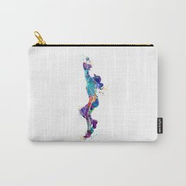 Girl Baseball Player Softball Fielder Colorful Watercolor Art Carry-All Pouch