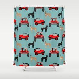 Great Dane jeep car dog breed pattern custom pet portrait Shower Curtain