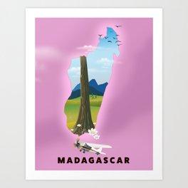 Madagascar illustrated map poster. Art Print