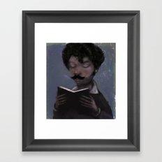 Reader with Mustache Framed Art Print