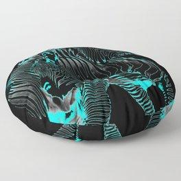 Turquoise Inverse Zebras Floor Pillow