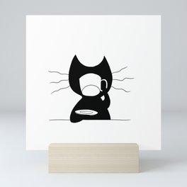 Cat drinking coffee Mini Art Print