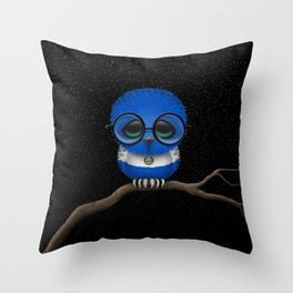 Baby Owl with Glasses and Salvadorian Flag Throw Pillow