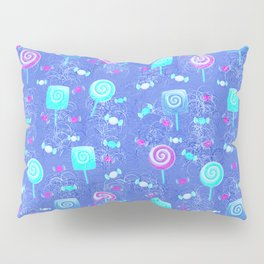Lollipop And Candy Bright Blue Confection Pillow Sham