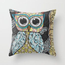 Owl Night Zendoodle Artwork Throw Pillow