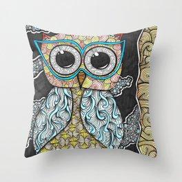Owl Night Zendoodle Artwork Throw Pillow