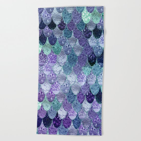 SUMMER MERMAID III Purple & Mint by Monika Strigel Beach Towel