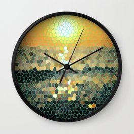Costa Rica Stained Glass Sunset Wall Clock