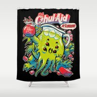 michael clifford Shower Curtains featuring CTHUL-AID by BeastWreck