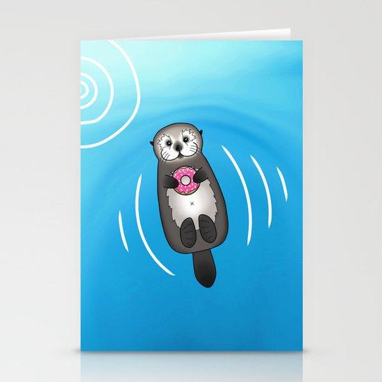 Sea Otter with Donut - Cute Otter Holding Doughnut by prettyinink