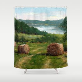 Hay Bale View of Shelburne Pond Shower Curtain