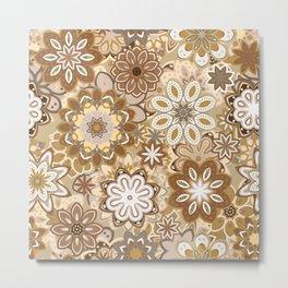 Floral boho mandala pattern Metal Print