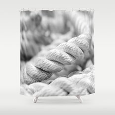 Ropes black and white macro Shower Curtain