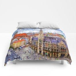 Munich Cityscape Comforters