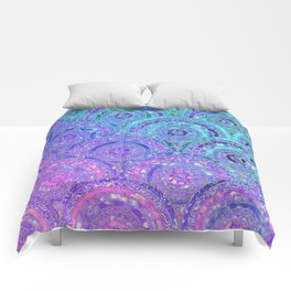 Aqua Blue Purple and Pink Sparkling Glitter Circles Comforters