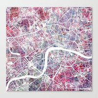 london map Canvas Prints featuring London map by MapMapMaps.Watercolors