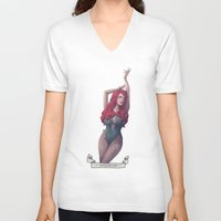 poison ivy V-neck T-shirts featuring Poison ivy by Sara Meseguer
