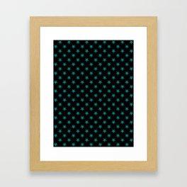 Teal Green on Black Stars Framed Art Print