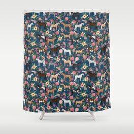 Horse Florals - navy Shower Curtain