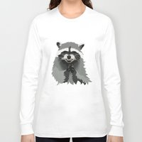 racoon Long Sleeve T-shirts featuring Diabolical Racoon by Elise Cayouette