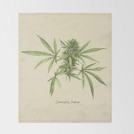 Vintage botanical print - Cannabis Throw Blanket
