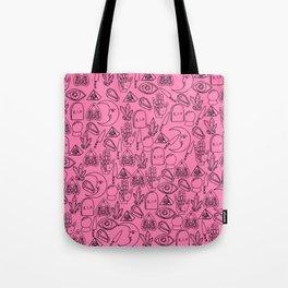 Pink Halloween Pattern Tote Bag