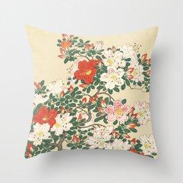 Vintage Azalea Japanese Woodcut Throw Pillow