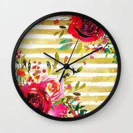 Flowers & Stripes 2 Wall Clock