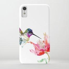 Little Hummingbird and Pink Flower, Bird art, minimalist bird painting, soft pink olive green design iPhone Case