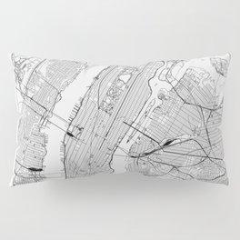 New York City White Map Pillow Sham