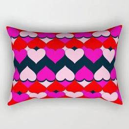 Multi Hearts Red Pink Navy Rectangular Pillow