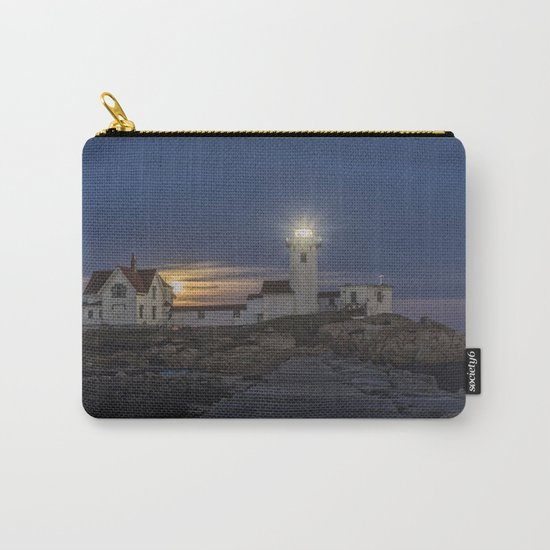 Full moon rising over Eastern point Lighthouse. Carry-All Pouch