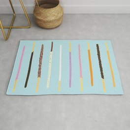 21 Flavors of Pocky - blue Rug