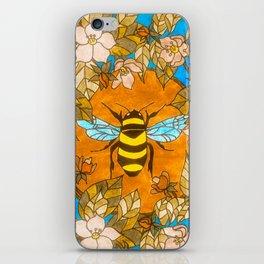 Bumblebee In Wild Rose Wreath iPhone Skin