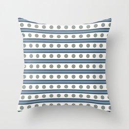 Circle Stripes Horizontal Indigo Lines Background Throw Pillow