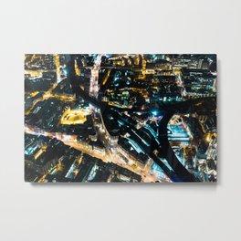 Aerial view of London illuminated at Night Metal Print
