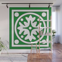 hunter green pattern Wall Mural