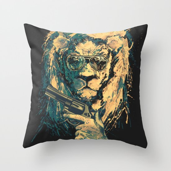Lion is always Cool Throw Pillow