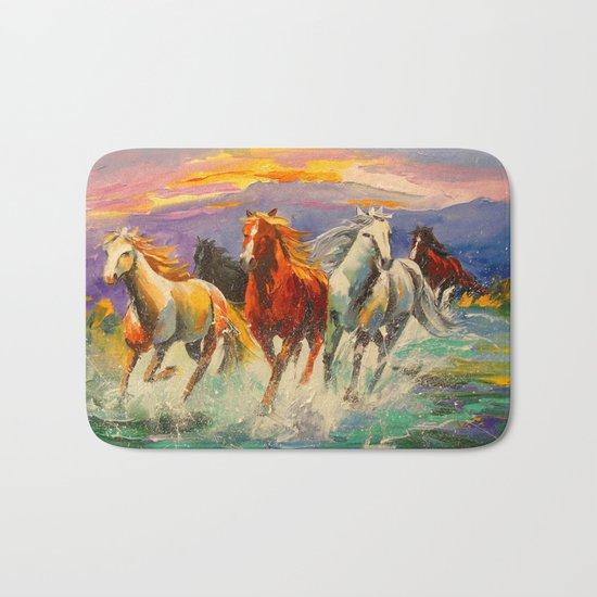 A herd of horses Bath Mat