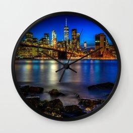 Manhattan Skyline and Brooklyn Bridge Wall Clock