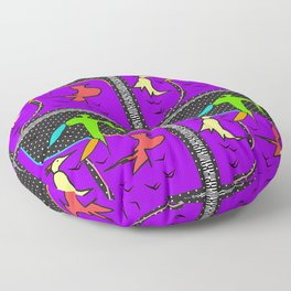 BIRDS GREEN YELLOW RED ABSTRACT Design Pattern Illustration Floor Pillow