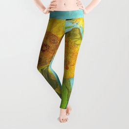 Vincent van Gogh - Three Sunflowers Leggings