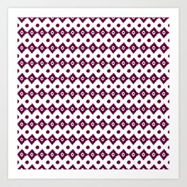 Abstract geometrical burgundy pink watercolor tribal pattern Art Print