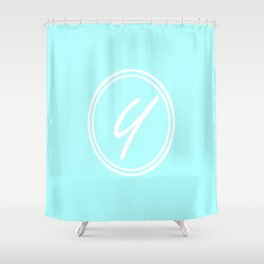 Monogram - Letter Y on Celeste Cyan Background Shower Curtain
