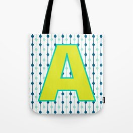 Letter A Monogram Blue, Green and Yellow with Pattern Tote Bag