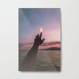 the finger in fire Metal Print