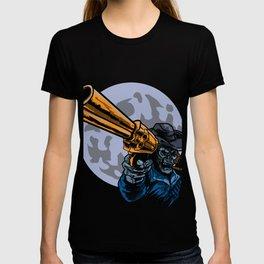 Cowboy Skull Gun Skeleton Bone Cowboy Cowman Gift  T-shirt