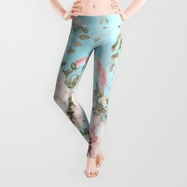Blush Watercolor Spring Florals On Teal Leggings