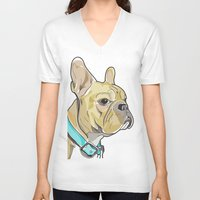 frenchie V-neck T-shirts featuring FRENCHIE by Analy Diego